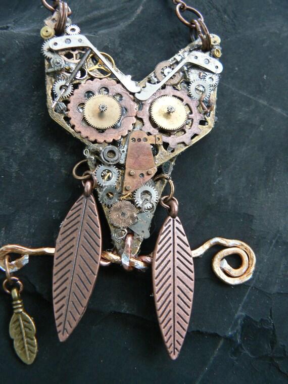 SALE steampunk owl necklace ooak gears watch parts  copper chain steampunk gothic fantasy gypsy boho style