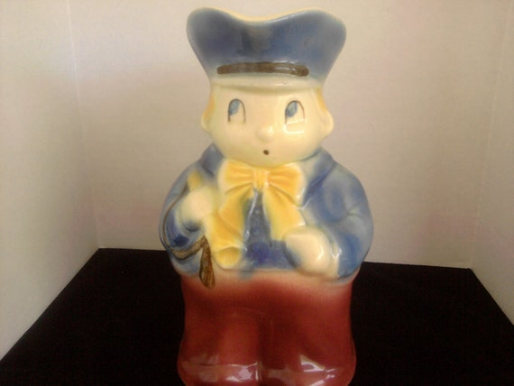 Toby Jug Shawnee Pottery Large Blue Boy Rare and Collectible Jug 1940s