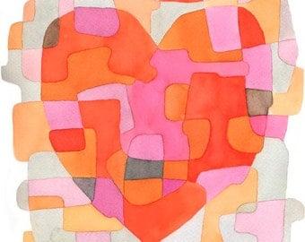 Heart Abstract Art Print Mid Century Modern print poster pink orange red gray 8 x 10