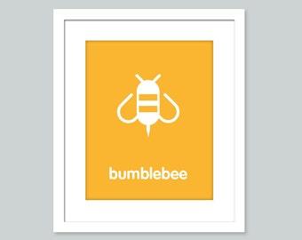 Bumblebee nursery art print - 8x10 print - nursery decor, baby decor, kids decor, playroom decor
