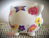 Personalized Hand Painted Piggy Bank With Flower and Butterfly Pattern