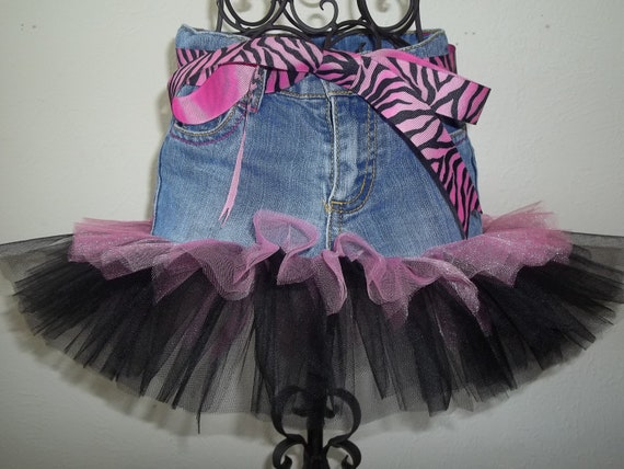 SIZE 24 MONTHS ONLY- Tutu : Double Layered Pink and Black Jean (Denim) Tutu