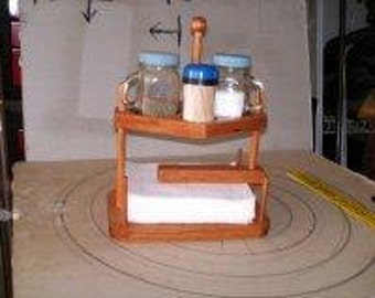 Handcrafted Wooden ywo-tier Napkin Holder with Salt and Pepper and Toothpick Holder Placements