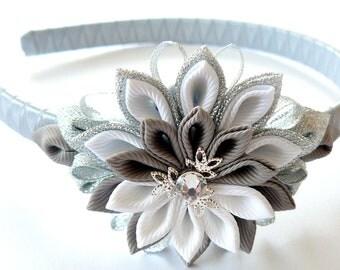 Kanzashi Fabric Flower headband, grey, silver and white.