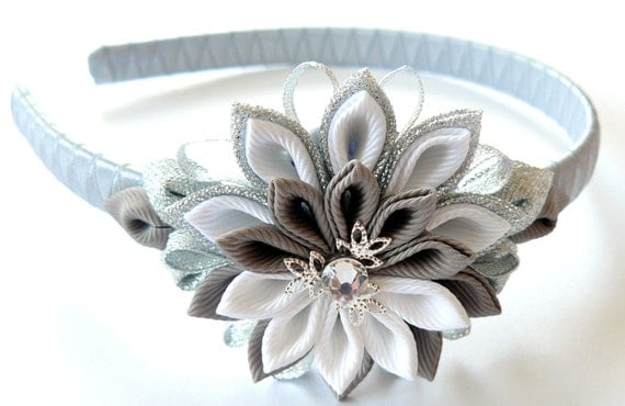Kanzashi Fabric Flower headband, grey, silver and white.