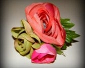 Ranunculus Boutonniere. Fuschia Hot Pink, Apple Green, and Muted Coral. Silk Wedding Flowers.