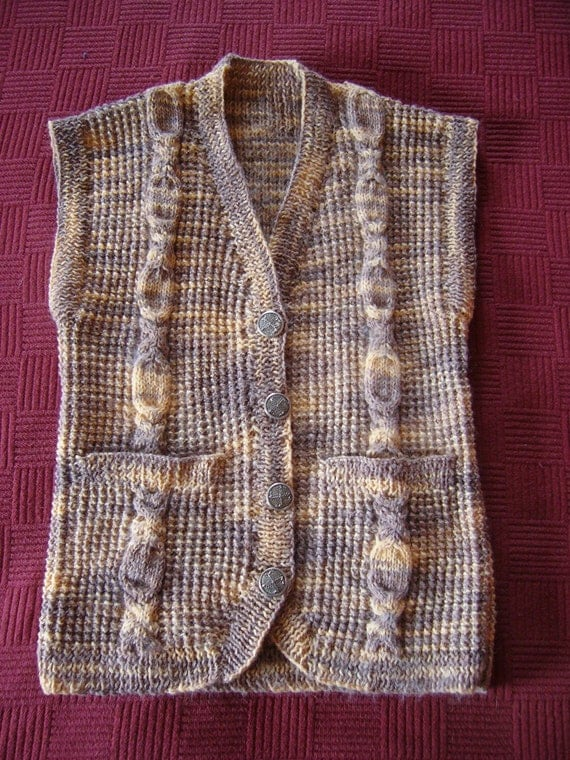 Knitted waistcoat made from vintage yarn with vintage buttons - suitable for a girl or small woman
