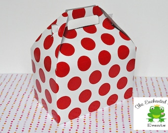 6 White with Red Dots Valentine's Favor Box - Favor Box, Lunch Box, Picnic Box