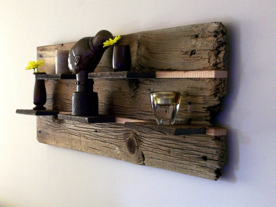 Rustic reclaimed barn wood wall shelf for Barnwood shelves for sale