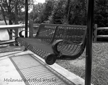 Bench Swing at the Park, Black and White 8x10 photo
