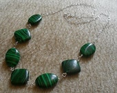 Malachite 925 Sterling Silver Wire Wrapped Necklace