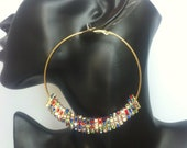 3 inch Multicolor square rondelle hoops