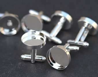 Shiny Silver cuff links 16mm Blank cufflinks with 16mm bezel setting, fit for resin, Glass Cabochon wholesale- 50pcs