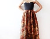 Black and Brown Maxi Dress, Bridesmaids dress, long printed gown, party dress - boned bodice dress - Made to order - ONLY ONE
