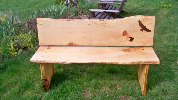 Salvaged live edge wood slab bench with inlays sale pending for Live edge wood slabs new york