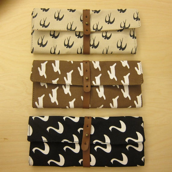 Rabbit/ Swallow/ Swan Washed Canvas Wrap Pencil Case/ Make Up Bag/ Pencil Roll/ Art Wrap/ Cosmetic Bag