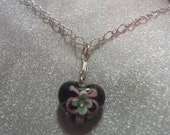"""Heart shaped glass pendant necklace 18 """" silver plated chain"""