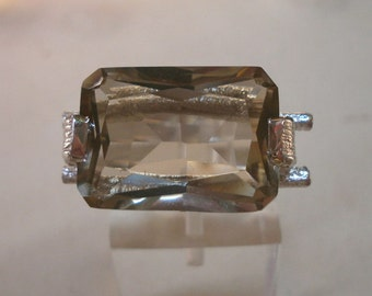 sterling silver ring with smoky topaz