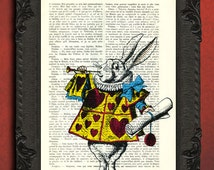 Alice In Wonderland Print Vintage Dictionary White Rabbit Art Print on Book Page Dictionary Page Upcycled Recycled