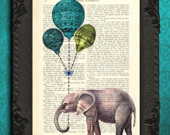 elephant print - elephant wall art - vintage dictionary art print home decor