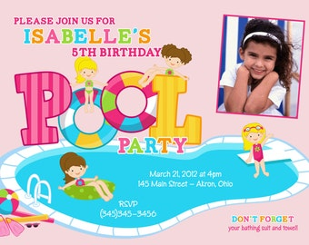 Girl Swimming Pool Kids Photo Birthday Party Invitations Summer | Custom Design | Printed Card Stock | Boy Girl Twin Sibling Stationery Best