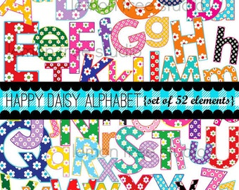 Digital Clip Art -- Happy Daisy Alphabet -- Set of Upper and Lowercase Letters (Instant Download)
