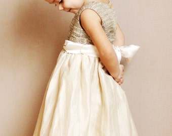 Girls beige dress gold ivory stone with buckle spring summer /hmet/eco friendly/rusteam / team madcap/ crazyadsteam