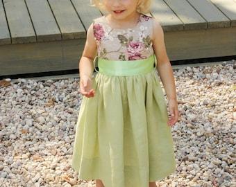 Girls green dress D13 Swarovski crystals flower girl dress linen special occasion