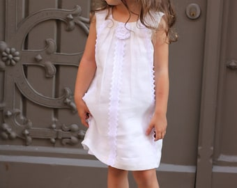 Girls summer dress D9 flower girl linen white lace birthday special occasion /hmet/rusteam