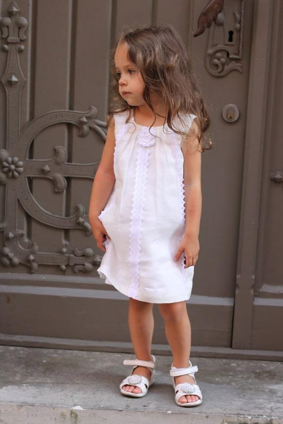Girls summer dress D9 flower girl linen white by Maliposhaclothes