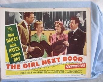"""Movie Lobby Card 1953  """"The Girl Next Door"""""""