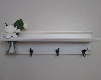 Shabby Chic Nautical Beach Cottage Flower Vase Shelf Key hook Coat Towel Hat Rack Hanger in Distressed WhiteWater Wash