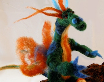 Soft sculpture needle felted dragon. sweet friendly green orange dragon. Peter the friendly dragon