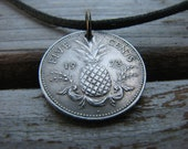 1973 Bahamas 5 Cent Pineapple Coin Necklace
