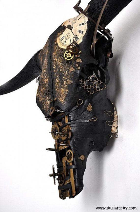 Items Similar To Hand Painted Real Animal Skull Taxidermy Wall Mount Skull Swedish Bull