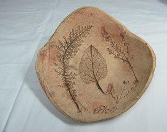 Clay Bowl with Leaf Impressions