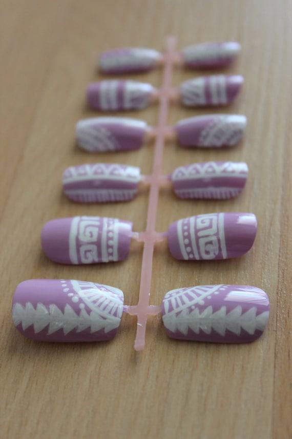 Original Pastel Purple and White Tribal Design Press On Nail Set