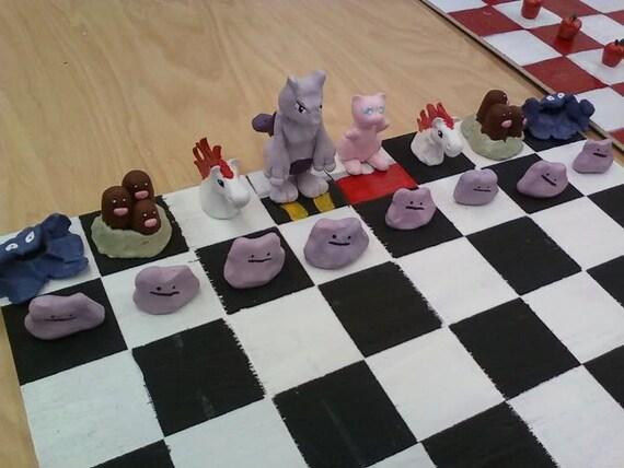 Handmade Pokemon Ceramic Chess Set