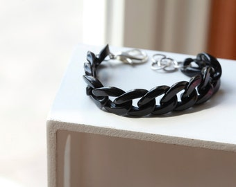 BLACK / Silver - Chunky Plastic Large Chain Link Bracelet - SILVER Accents