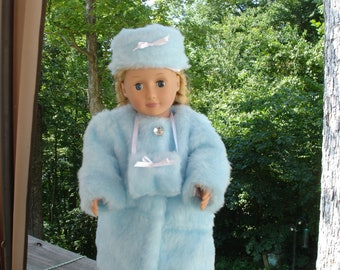 LIGHT BLUE FUR Coat with Matching Hat and Muff