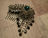 vintage 1920's art deco inspired hand made hair slide with emerald style jewel and diamante