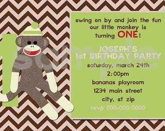 DIY Printable Sock Monkey Birthday  Invitation