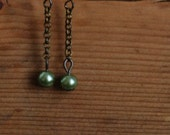 Romantic antique brass chain earrings with vintage olive pearls