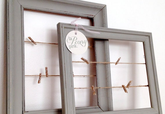 Picture Frame with Twine and Sparkly Clothespins (set of 2)
