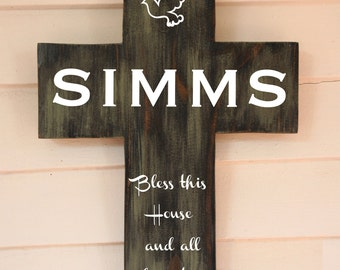 "Personalized wood wall cross / Last Name Personalized Family Pine Wood Cross with Dove and Quote Poem  LARGE 11""X16"""