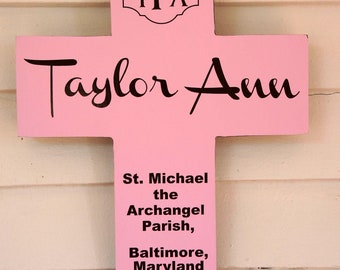 Monogram Cross First Communion / First Eucharist Personalized Pine Wood Baptism Gift for Boy or Girl - Custom colors and date present