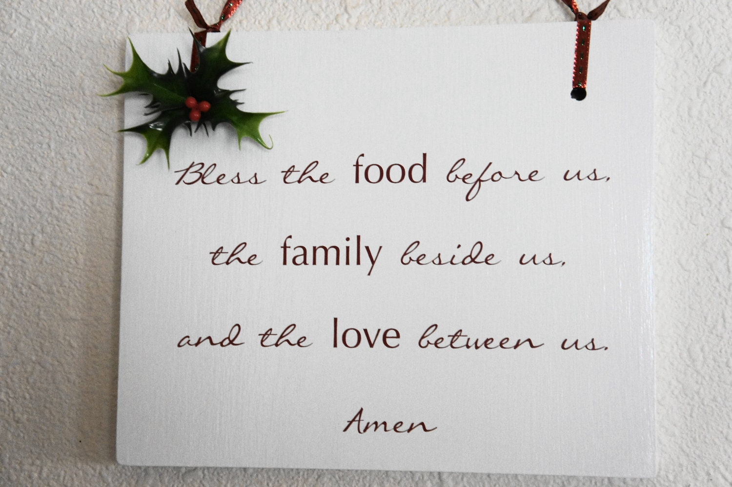 Ooak Christmas Prayer Bless Food Family Love Amen Hanging Wood