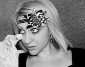 "Forehead Hair Band ""Black & White"" 5in1-hairband, hair clip, headband, brooch, cuff. OOAK."