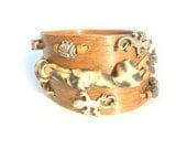 "Bracelet ""Jungle"". OOAK. Handbeded, appliqued jewelry. Vivid art design"