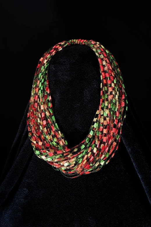 Autumn Leaves Trellis Yarn Necklace Scarf